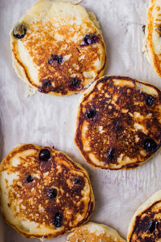 lemon blueberry and ricotta pancakes