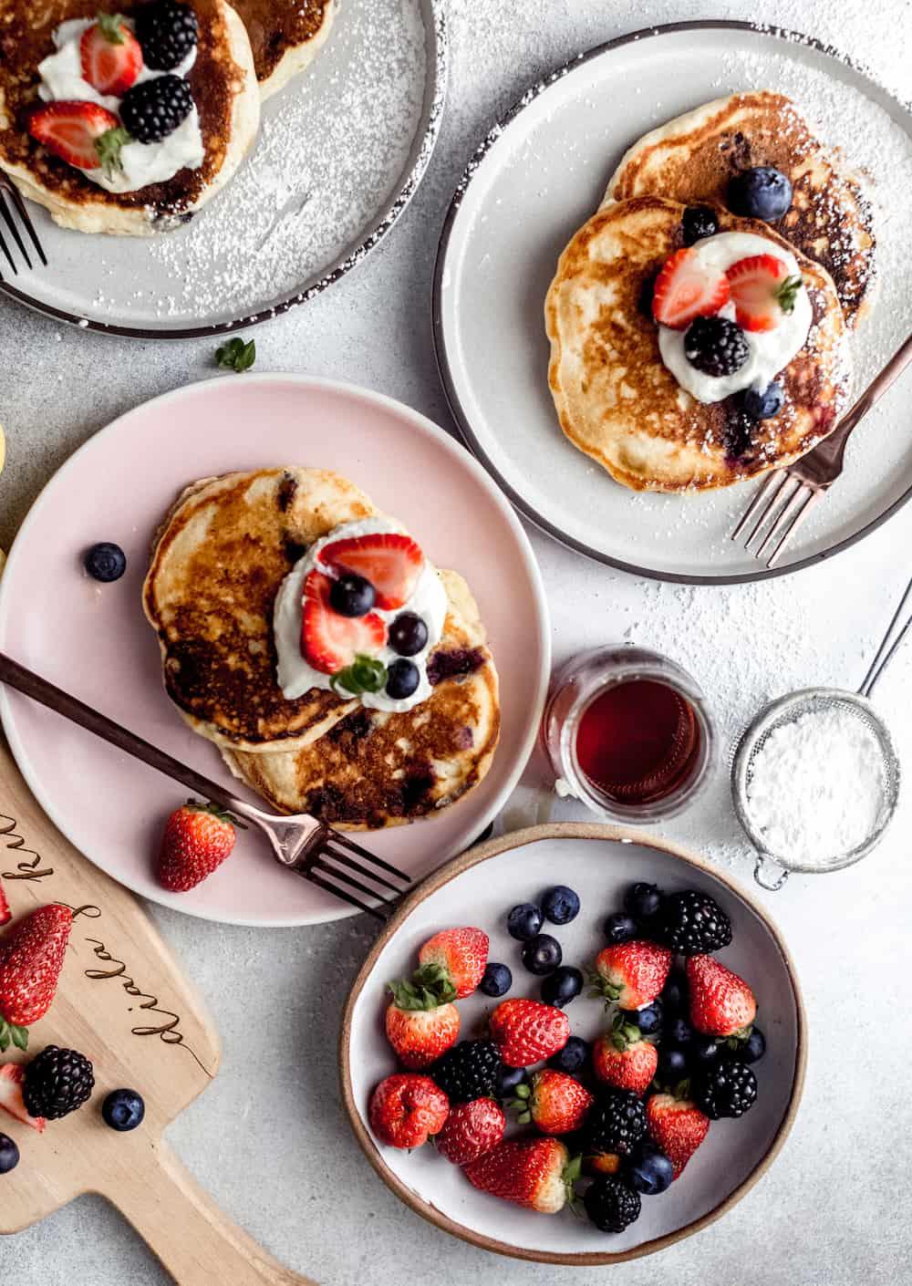 lemon blueberry and ricotta pancakes diala's kitchen