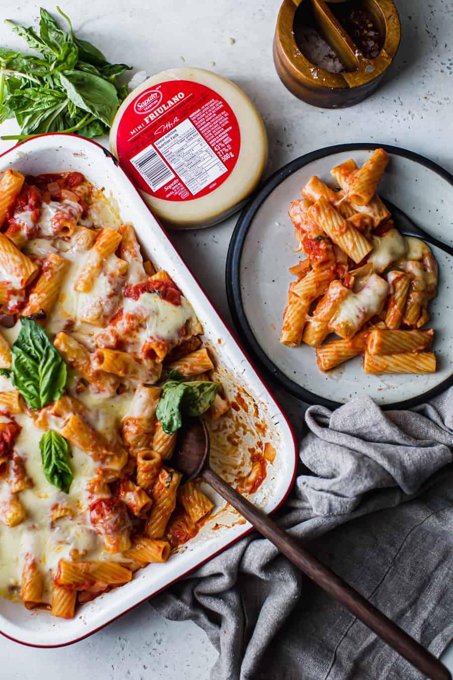 baked rigatoni with arrabbiata and Friulano